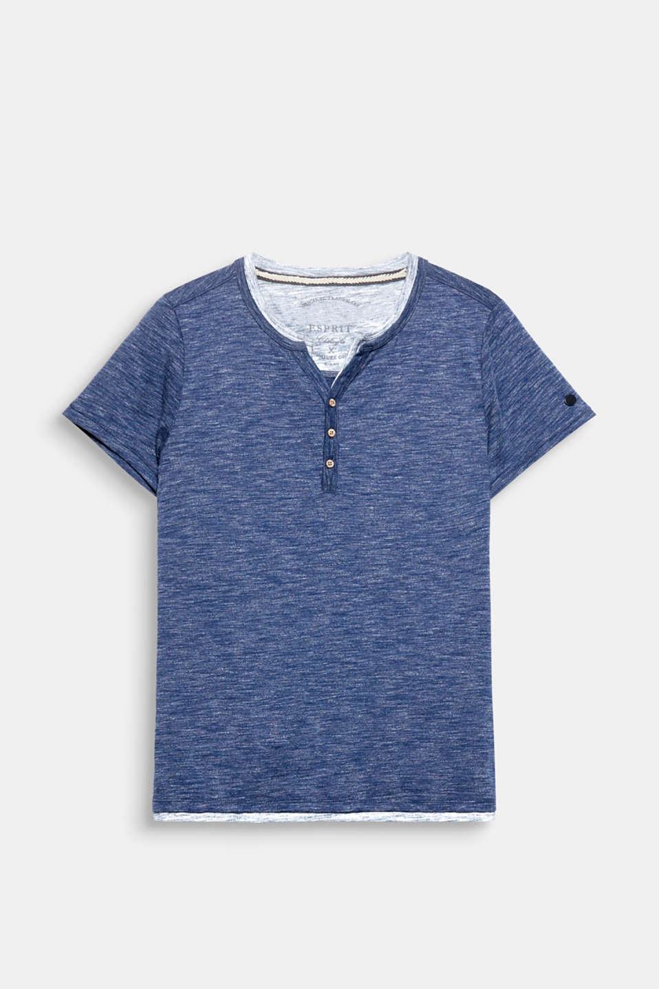 Henley T-shirt in a layered design, made of melange jersey