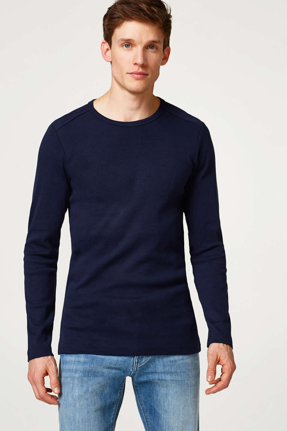 Esprit - Basic ribbed cotton long sleeve top