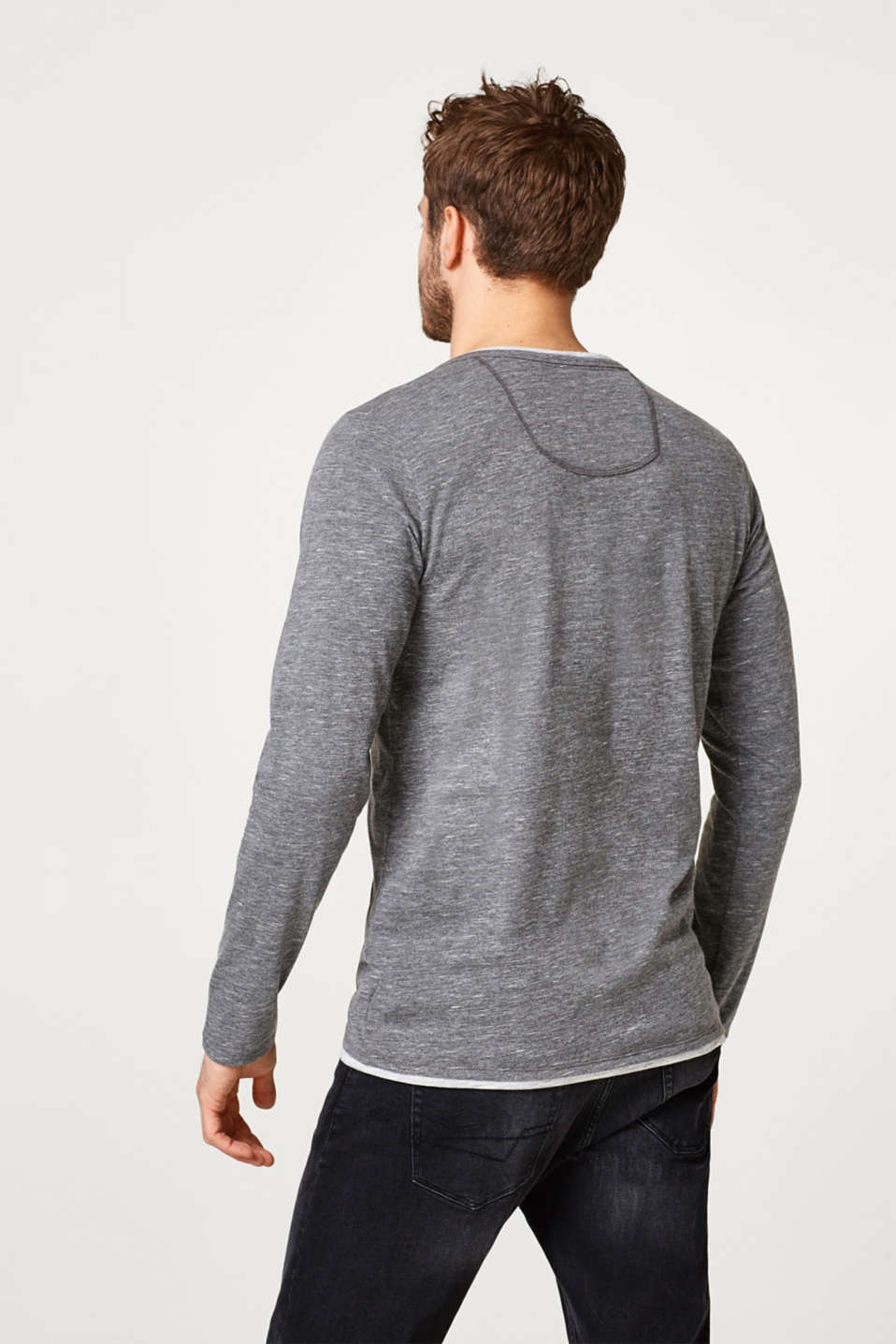Jersey long sleeve top + a Henley neckline, DARK GREY, detail image number 3