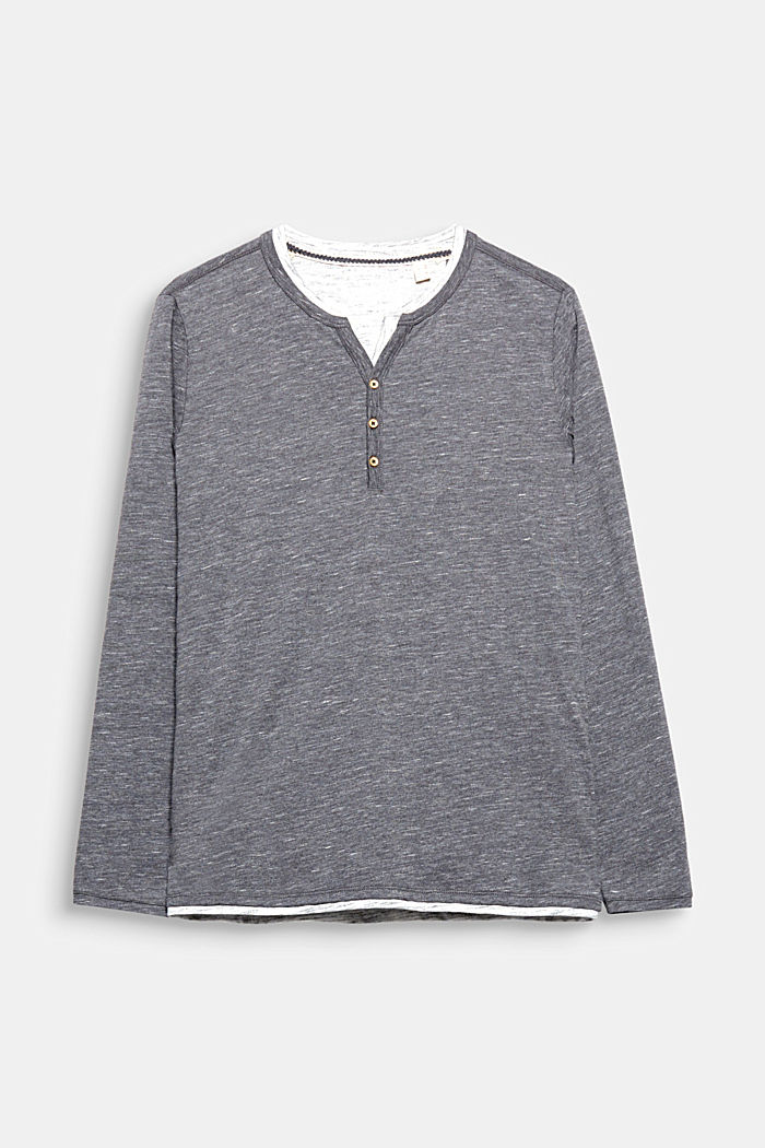 Jersey long sleeve top with a Henley neckline, DARK GREY, detail image number 0