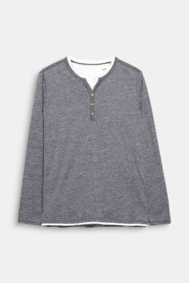 Jersey long sleeve top with a Henley neckline, DARK GREY, detail