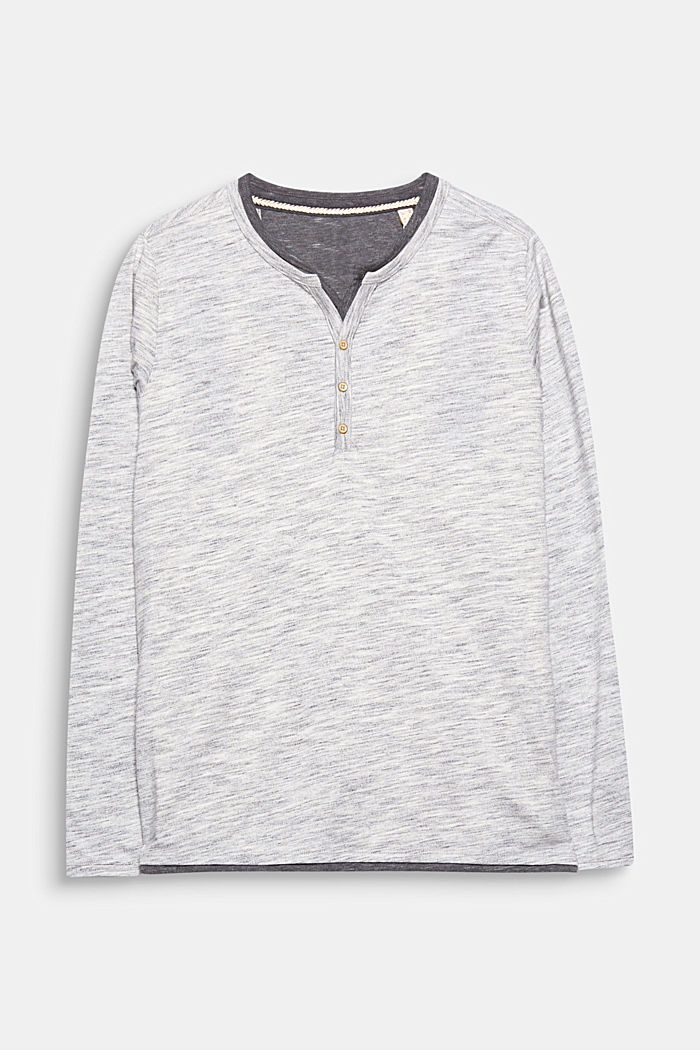 Jersey long sleeve top with a Henley neckline, LIGHT GREY, overview