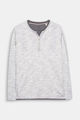 Jersey long sleeve top with a Henley neckline, LIGHT GREY, detail