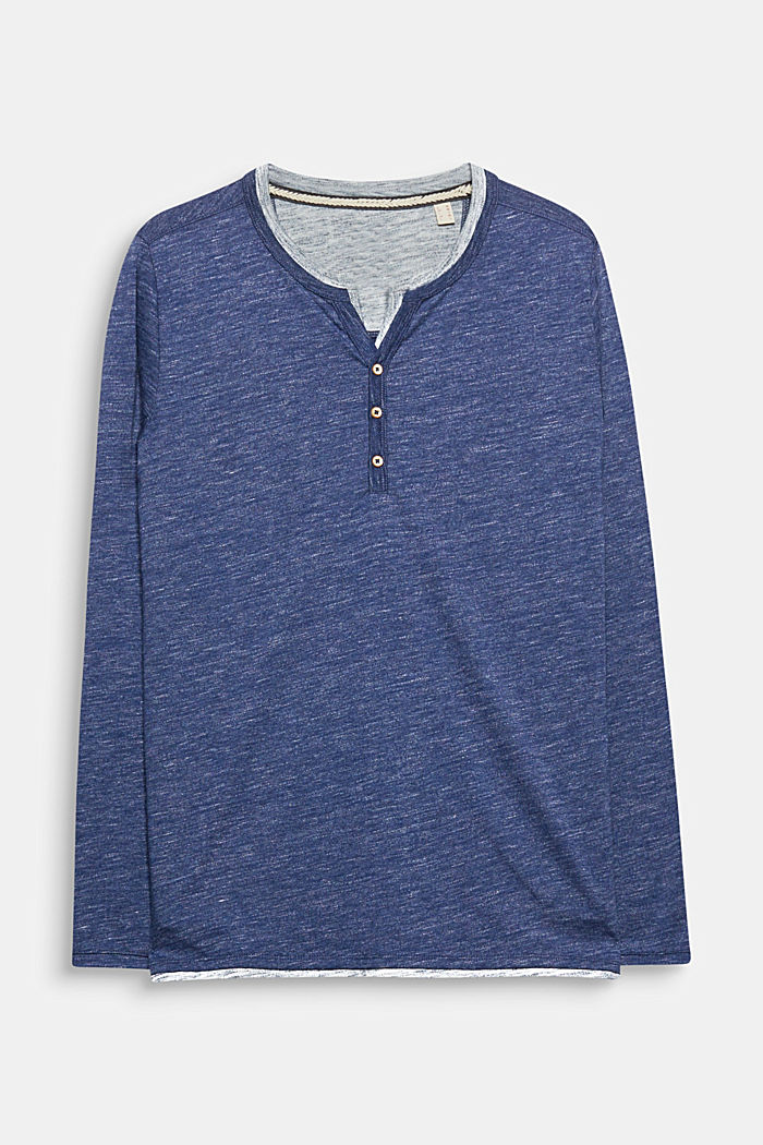 Jersey long sleeve top with a Henley neckline, NAVY, detail image number 0