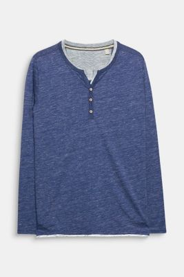 Jersey long sleeve top with a Henley neckline, NAVY, detail