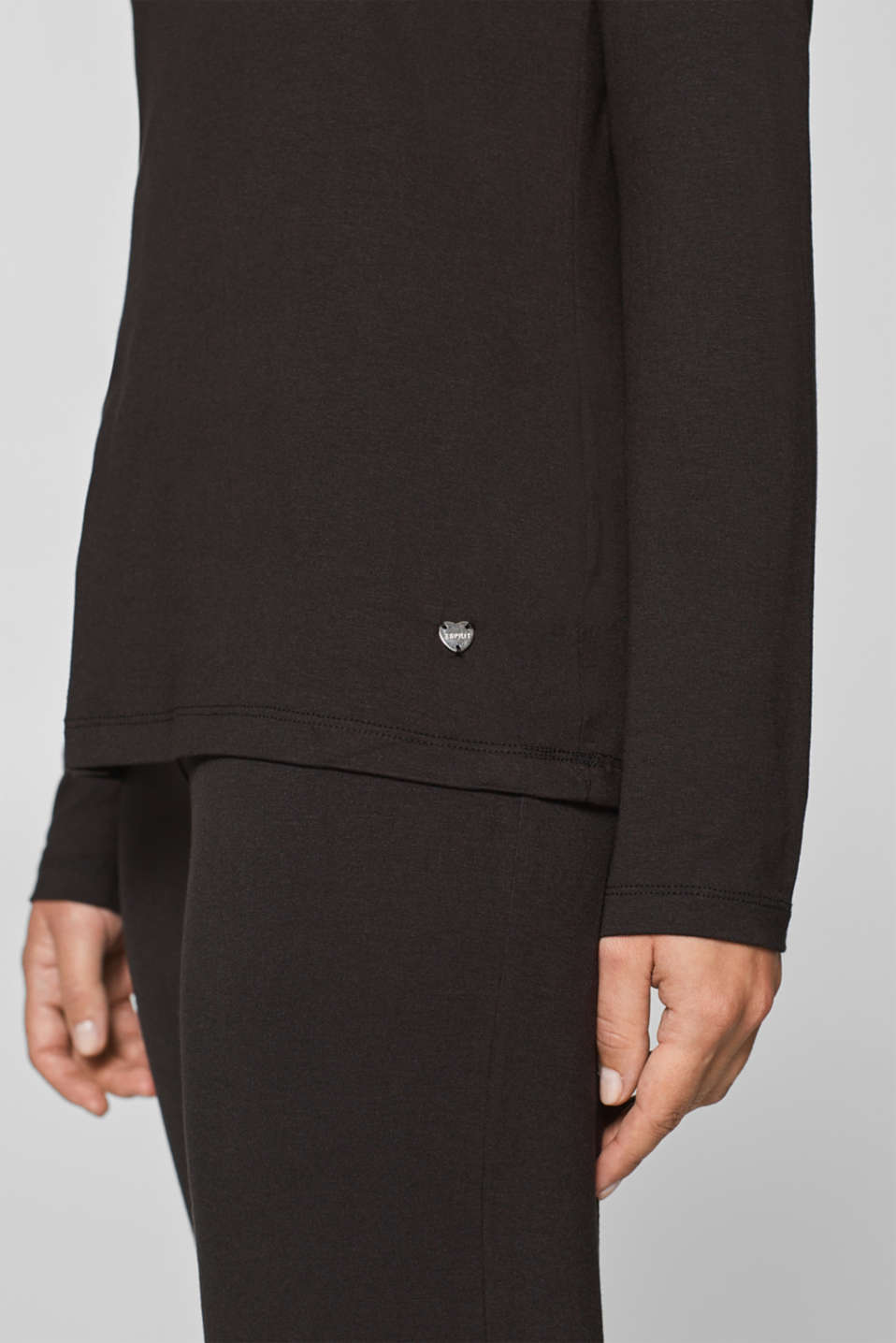 Stretch long sleeve top with a lace neckline, BLACK, detail image number 2