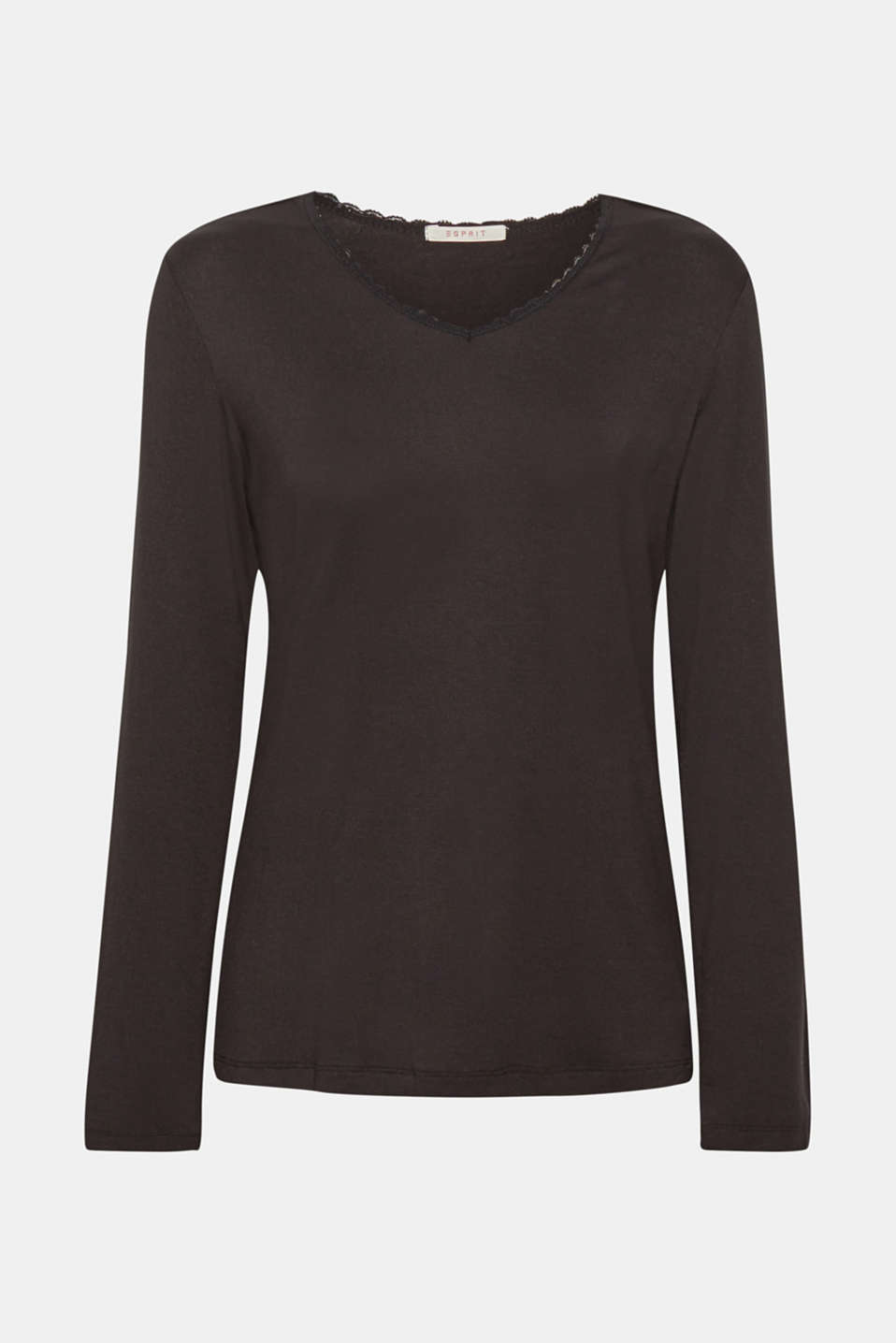 Stretch long sleeve top with a lace neckline, BLACK, detail image number 4