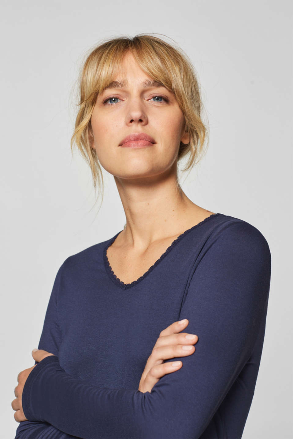 Stretch long sleeve top with a lace neckline, NAVY, detail image number 3