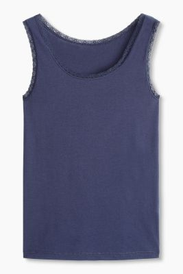 Basic top in stretch cotton, NAVY, detail