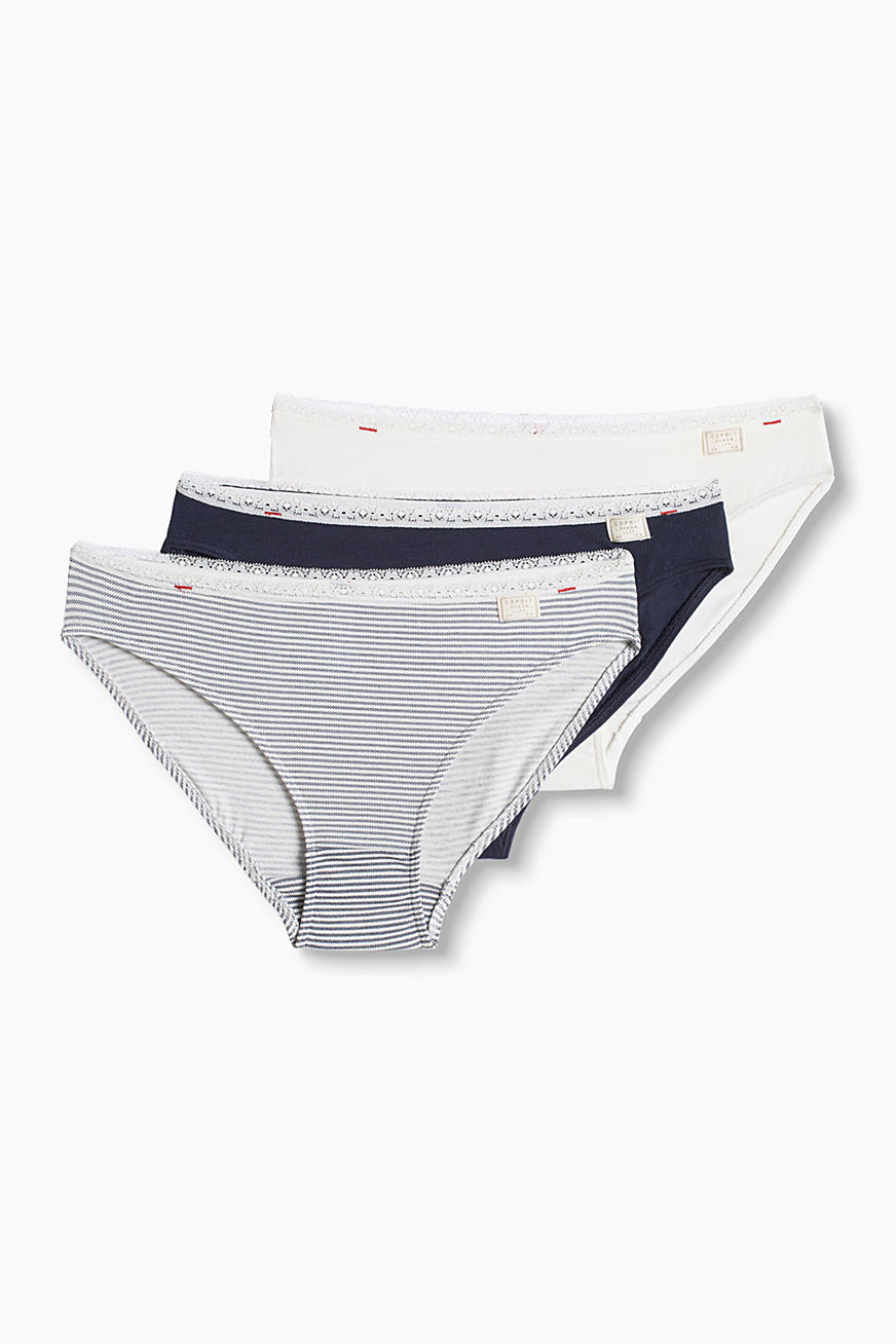 Three pairs of briefs, cotton/stretch