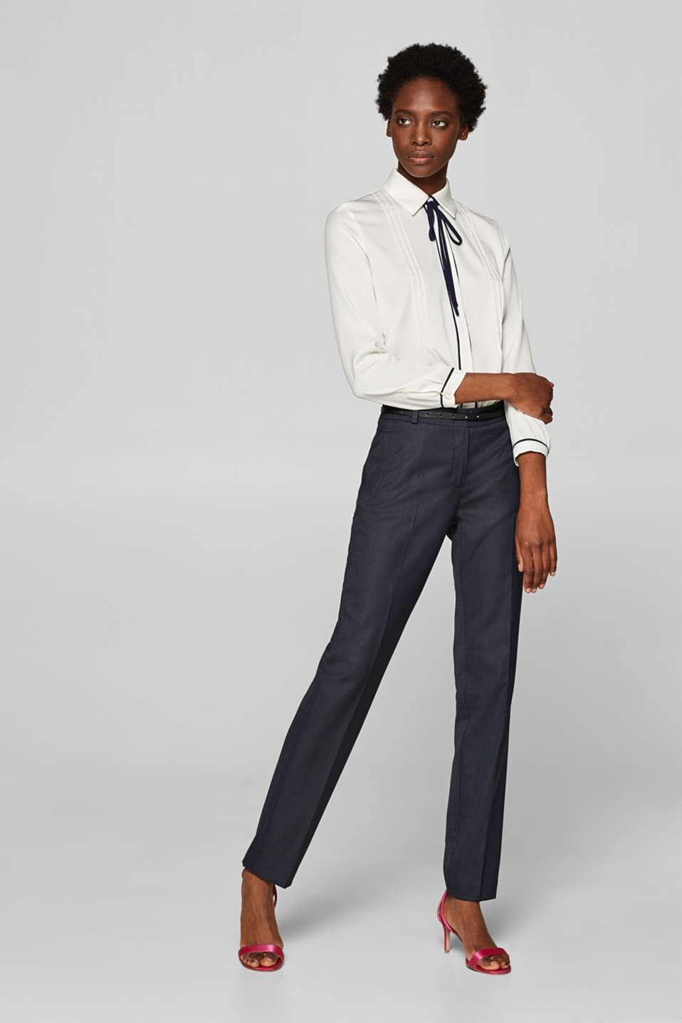 Business suit trousers with a belt, NAVY, detail image number 0