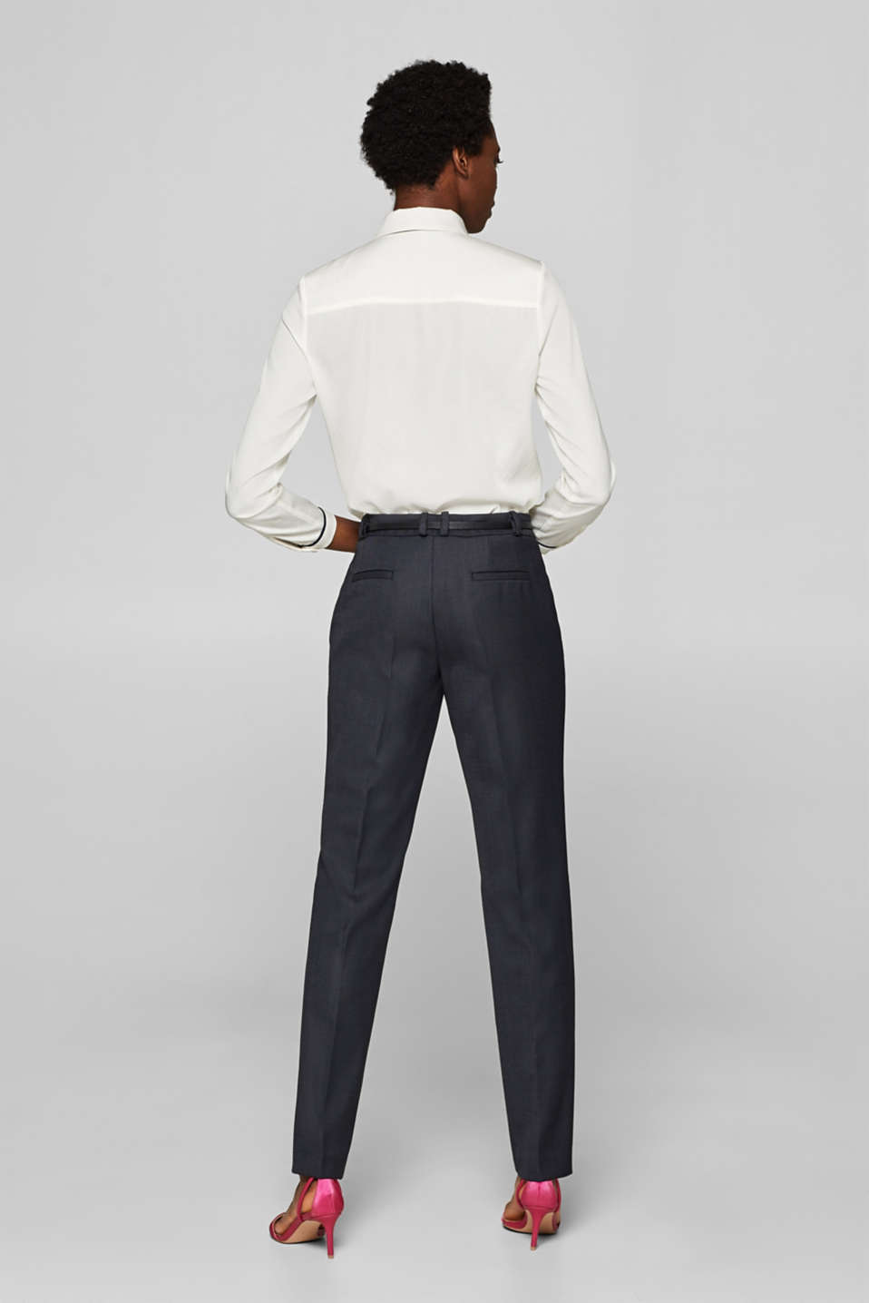Business suit trousers with a belt, NAVY, detail image number 3