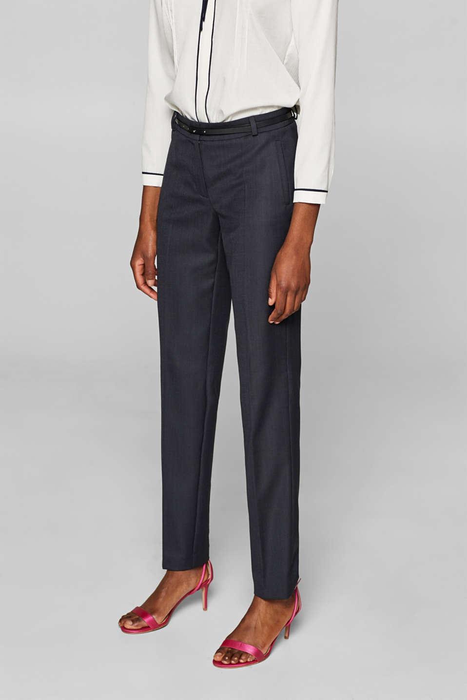 Business suit trousers with a belt, NAVY, detail image number 6