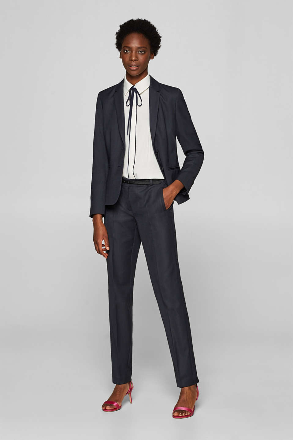 Business suit trousers with a belt, NAVY, detail image number 1