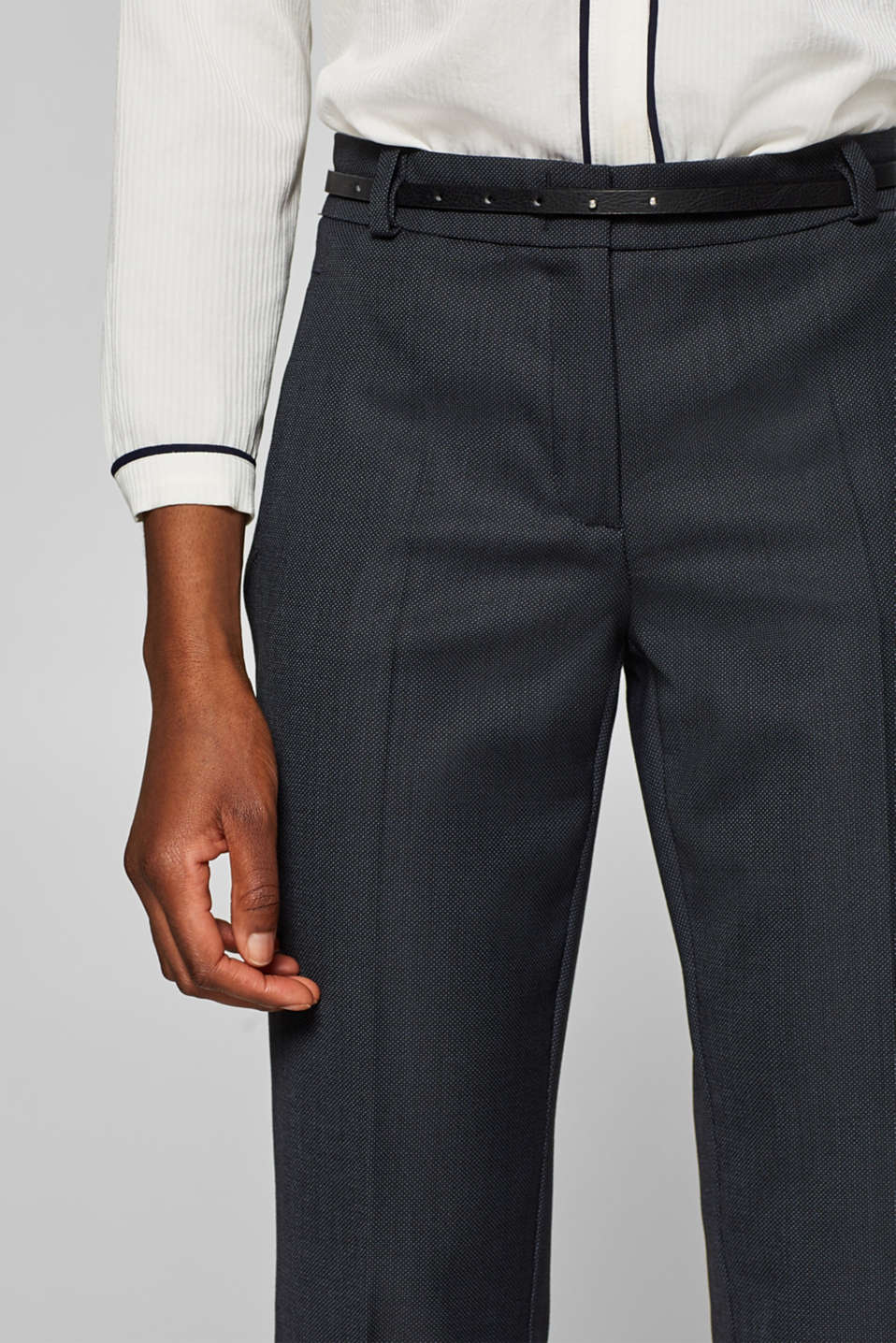 Business suit trousers with a belt, NAVY, detail image number 2
