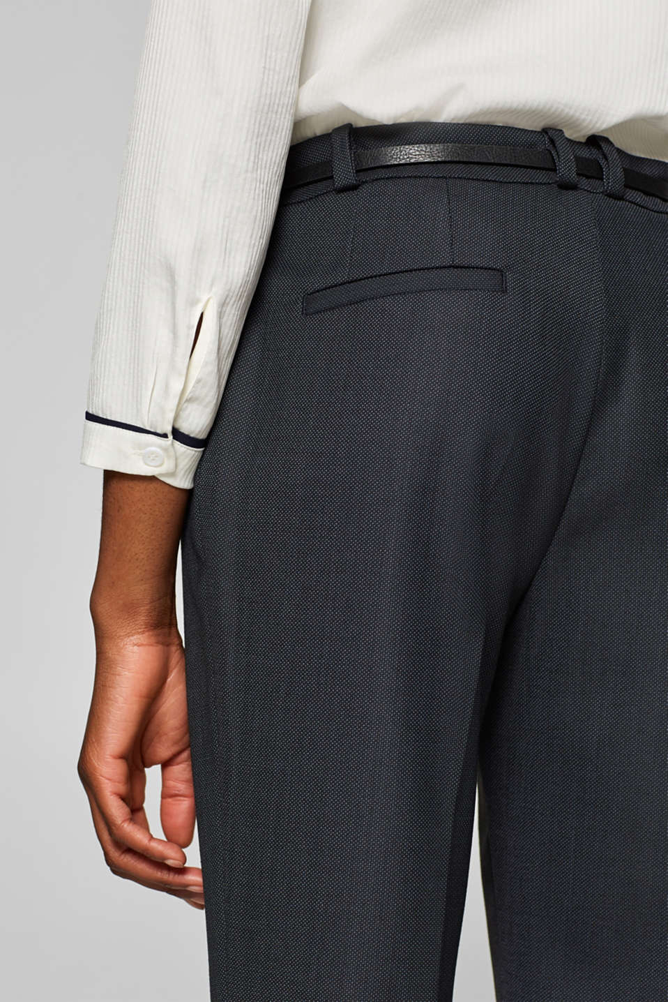 Business suit trousers with a belt, NAVY, detail image number 5
