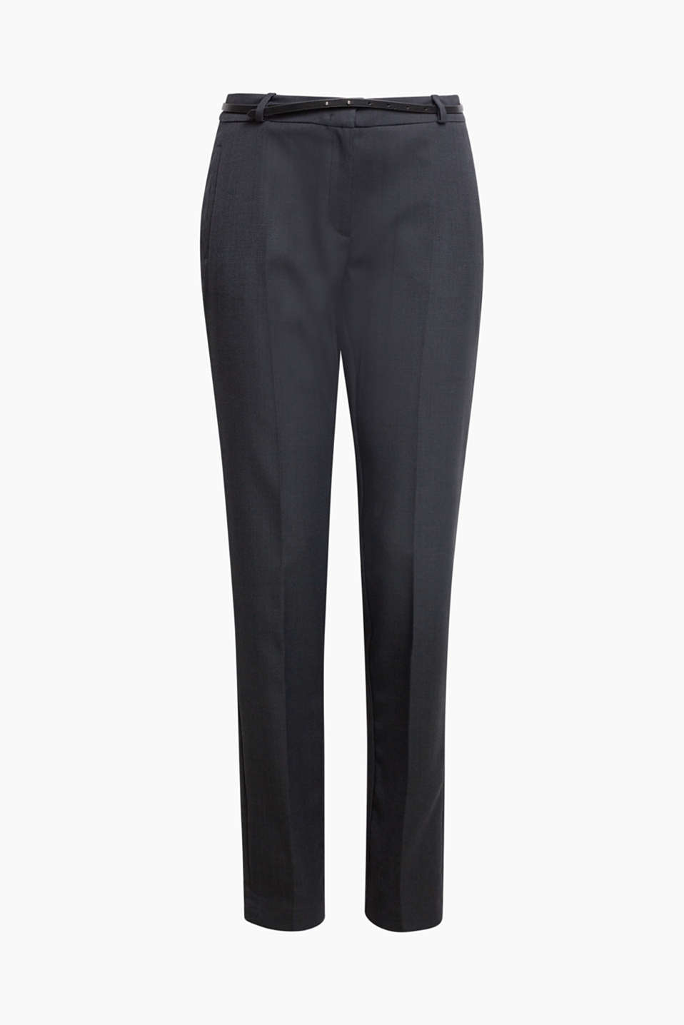 Business suit trousers with a belt, NAVY, detail image number 7