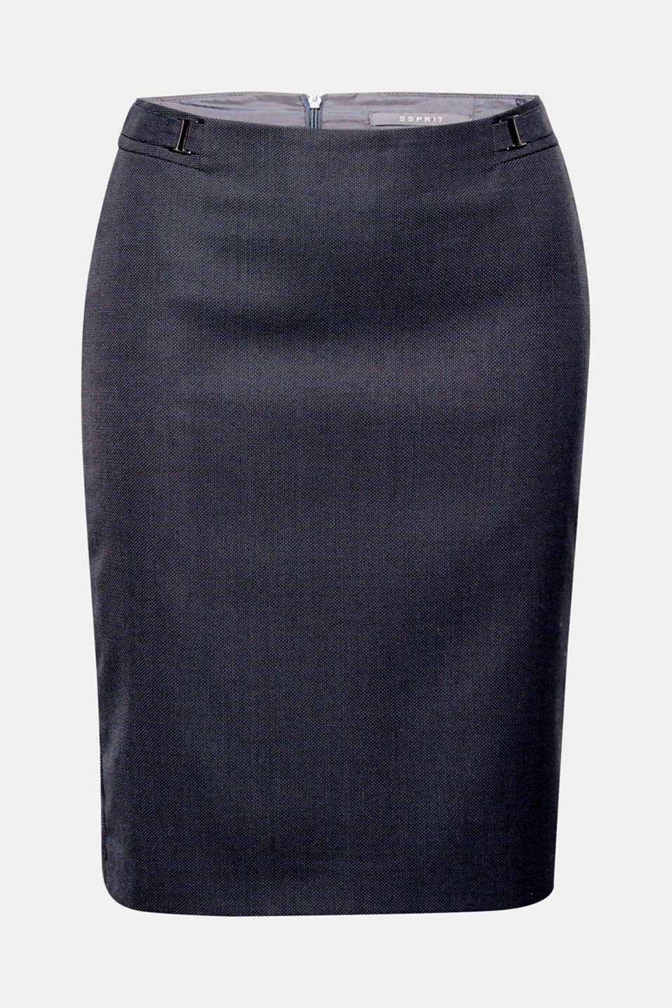 Stretch pencil skirt made of classic blended poly/viscose (fabric) in a fine two-tone look