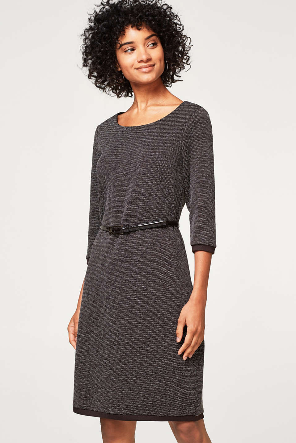 Esprit - Two Tone Sweat-Kleid mit Lackgürtel