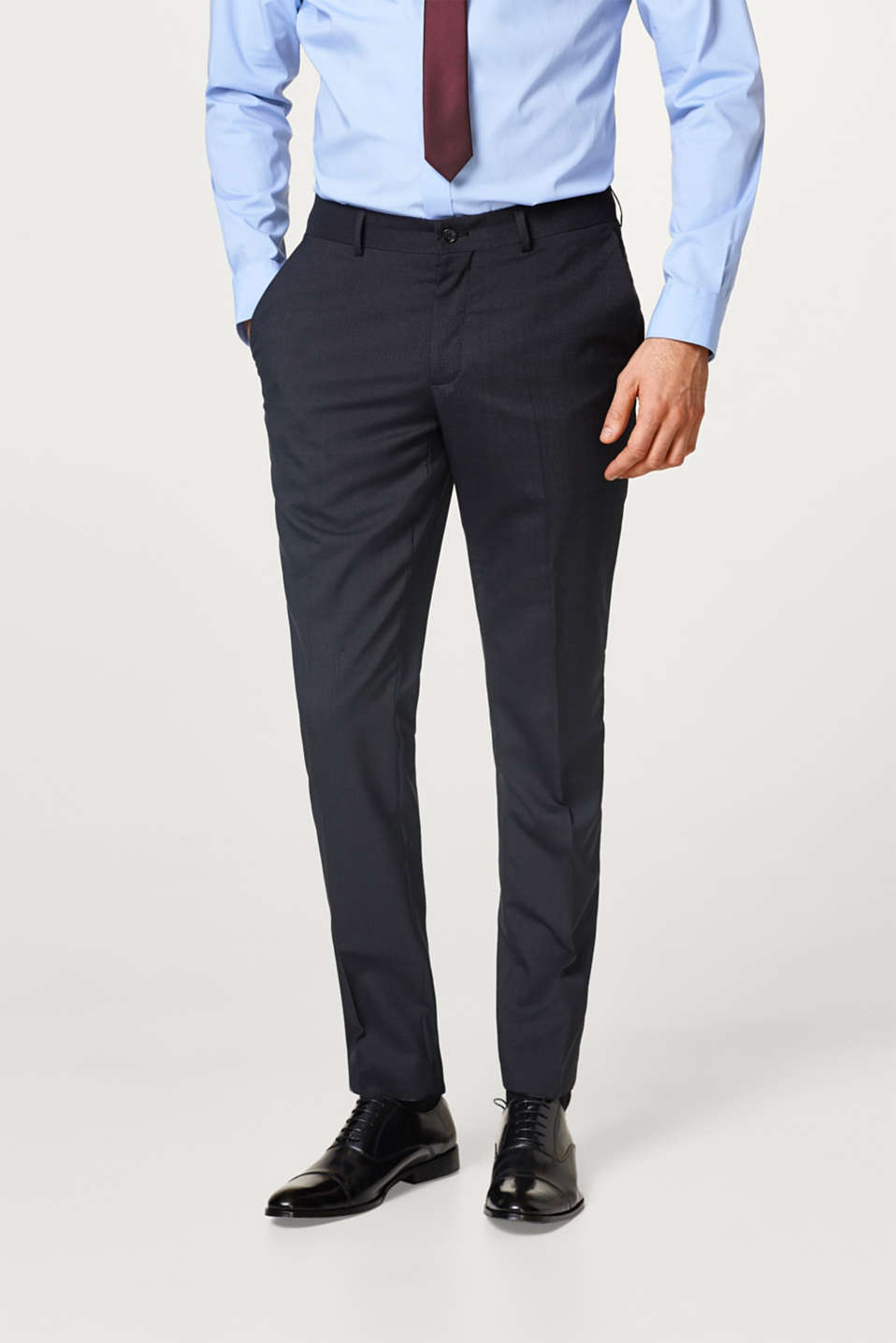 Esprit - Suit trousers + check pattern, blended wool