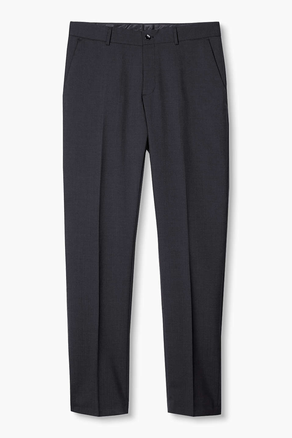 Suit up! Fine thread checks give these premium suit trousers a timeless and elegant look.
