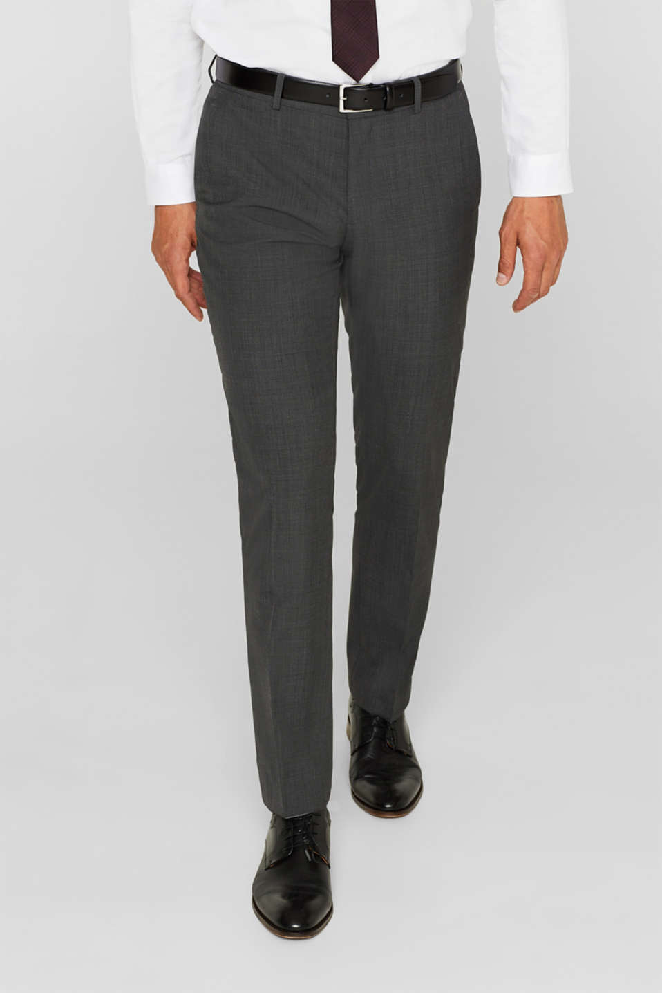 Esprit - TWO-TONE GREY mix + match: trousers in blended wool