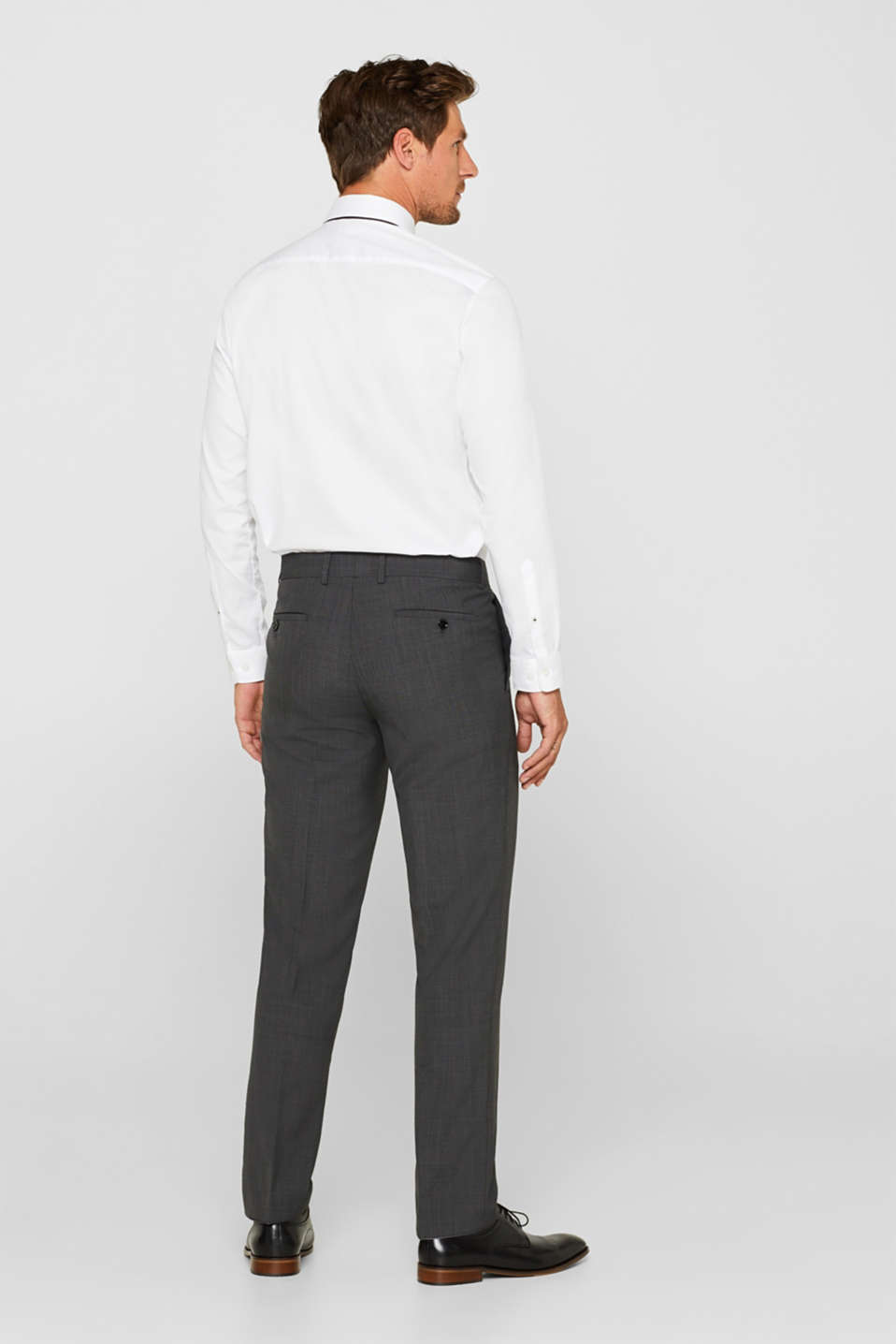 TWO-TONE GREY mix + match: trousers in blended wool, DARK GREY 5, detail image number 1
