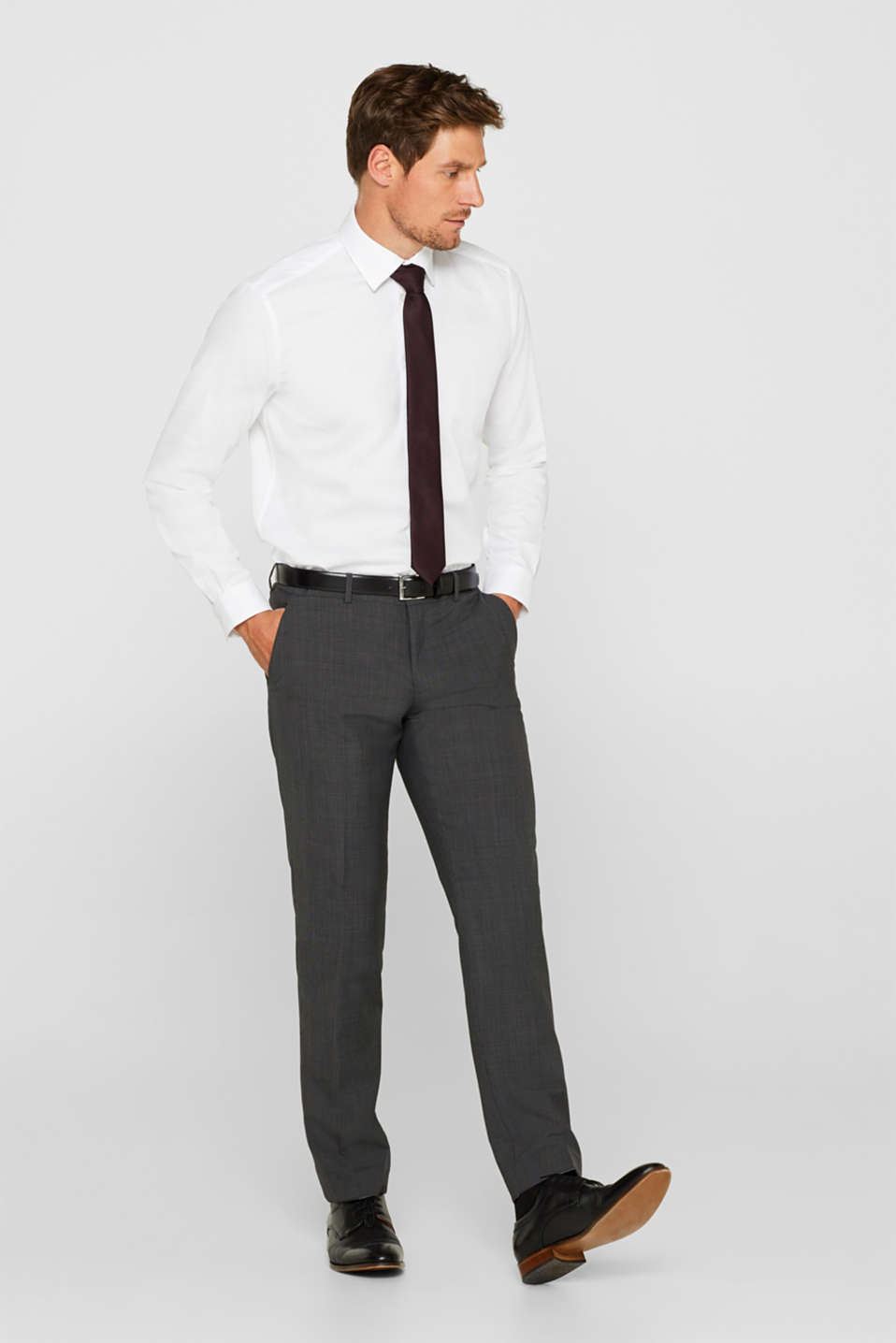 TWO-TONE GREY mix + match: trousers in blended wool, DARK GREY 5, detail image number 4