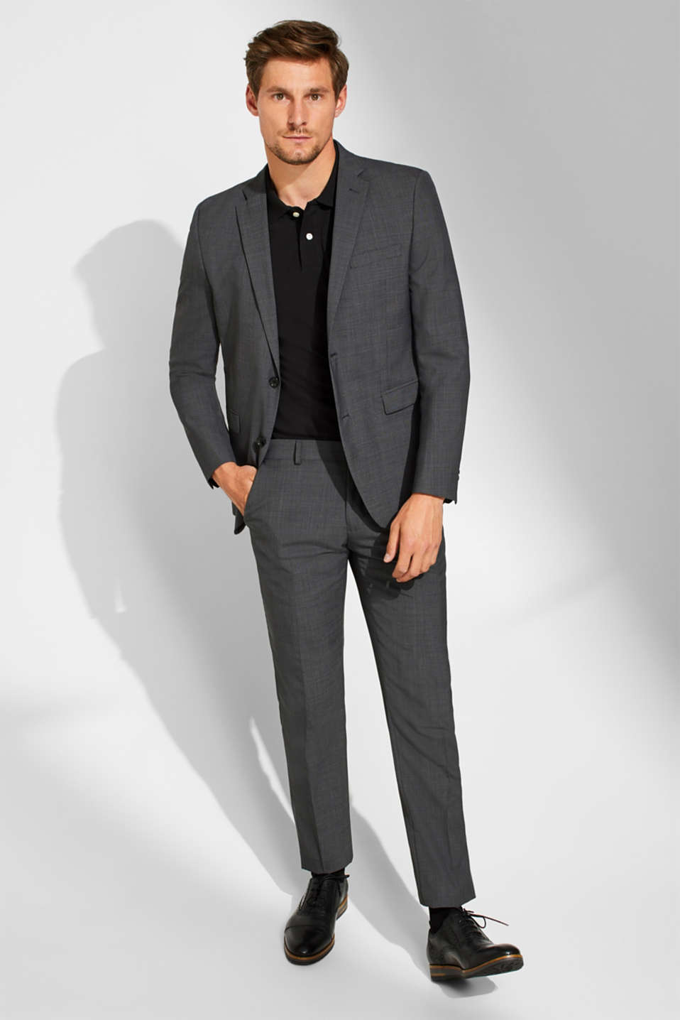 TWO-TONE GREY mix + match: trousers in blended wool, DARK GREY 5, detail image number 8