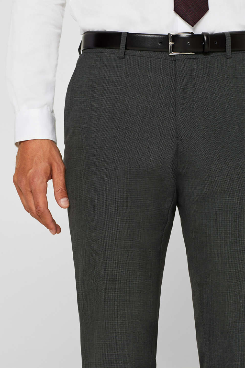 TWO-TONE GREY mix + match: trousers in blended wool, DARK GREY 5, detail image number 3