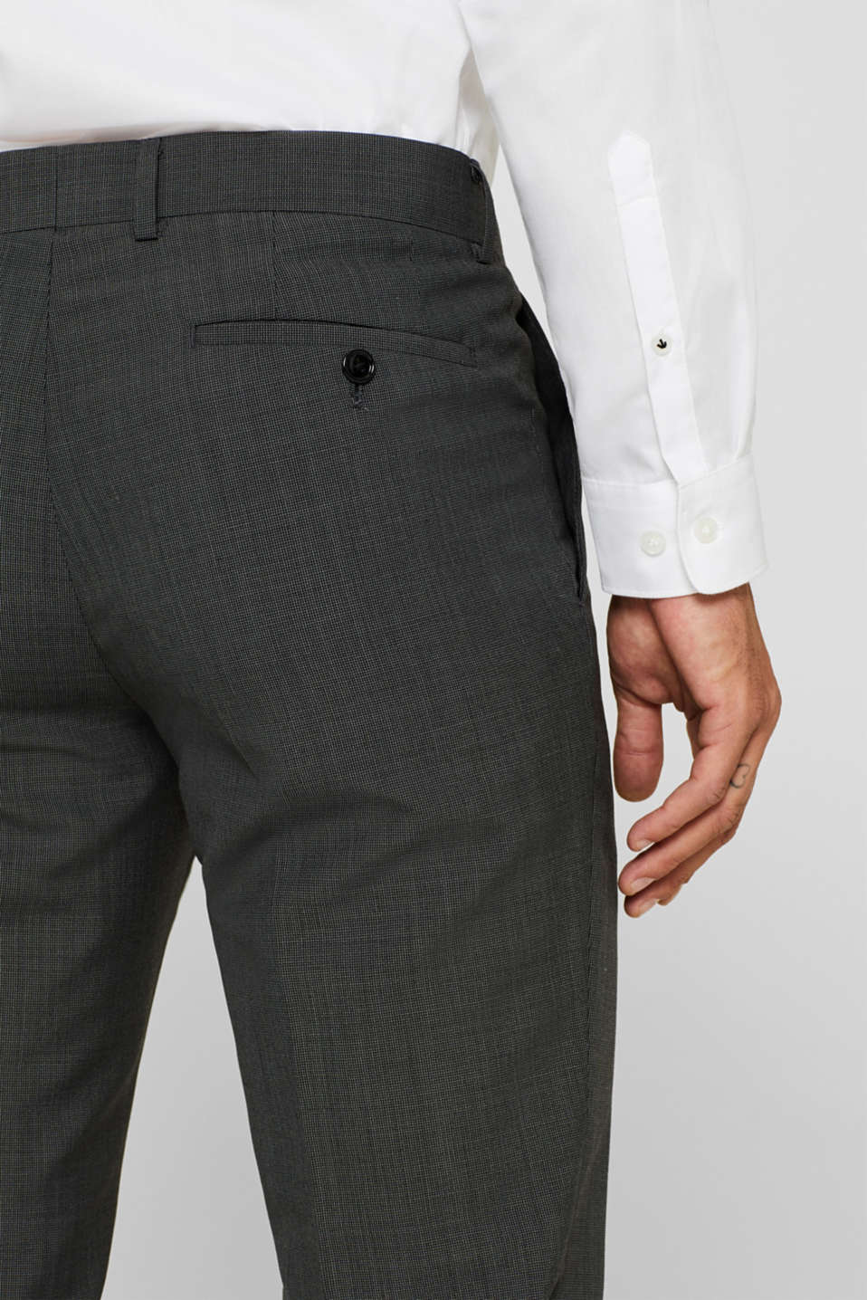 TWO-TONE GREY mix + match: trousers in blended wool, DARK GREY 5, detail image number 6