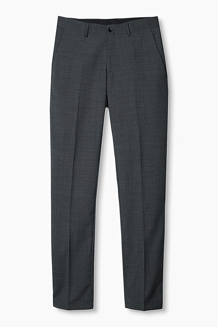 TWO-TONE GREY mix + match: trousers in blended wool, DARK GREY, overview