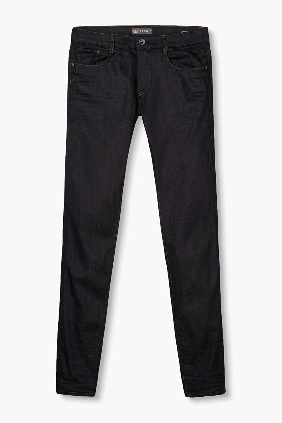 Five-pocket jeans with a dark rinse wash with subtle garment-washed effects, in firm stretch denim