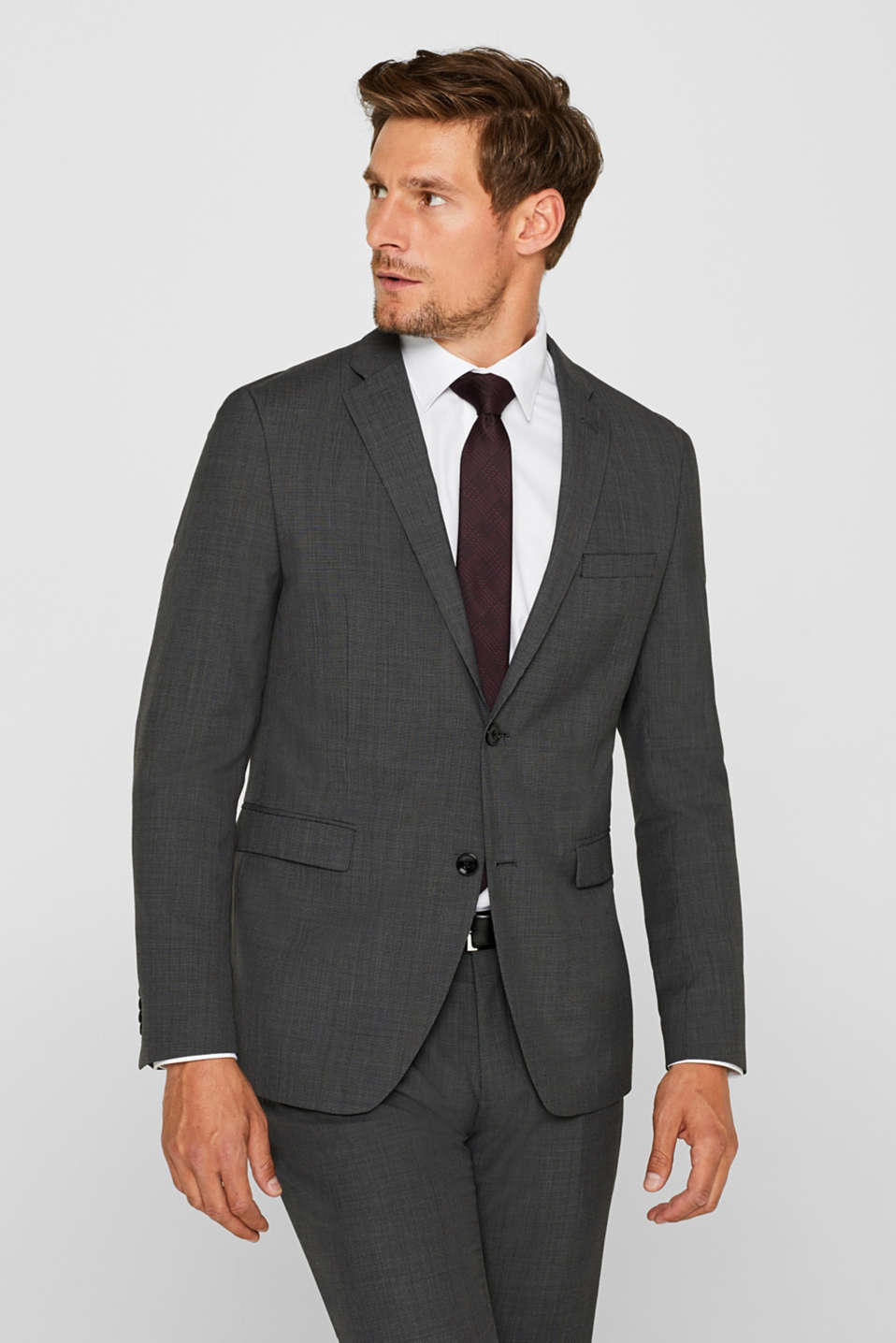 Esprit - 2-TONE GREY Mix + Match: Blazer i uldmiks