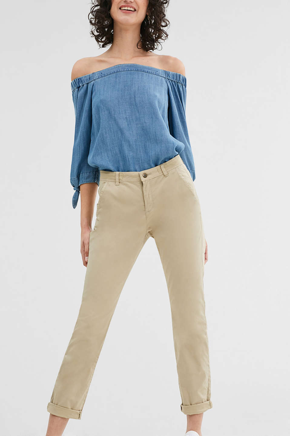 Pantaloni chino in cotone con stretch