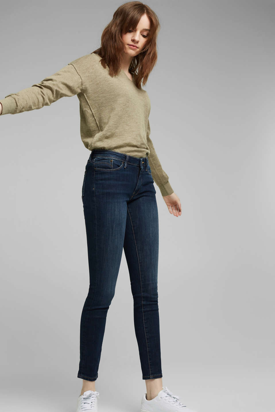 Stretch jeans with organic cotton, BLUE DARK WASH, detail image number 0