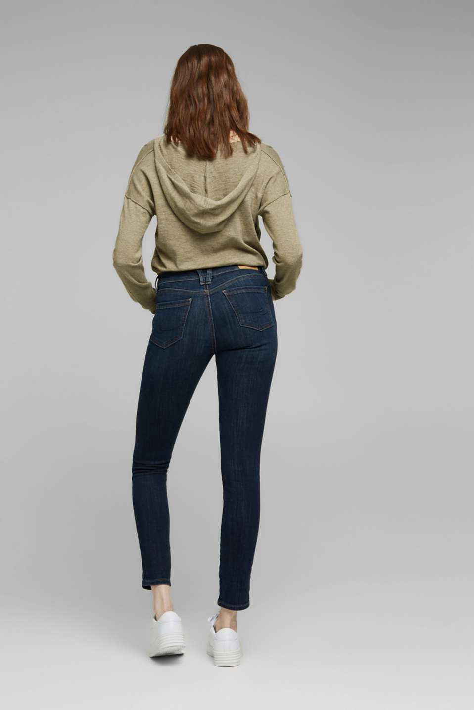 Stretch jeans with organic cotton, BLUE DARK WASH, detail image number 3