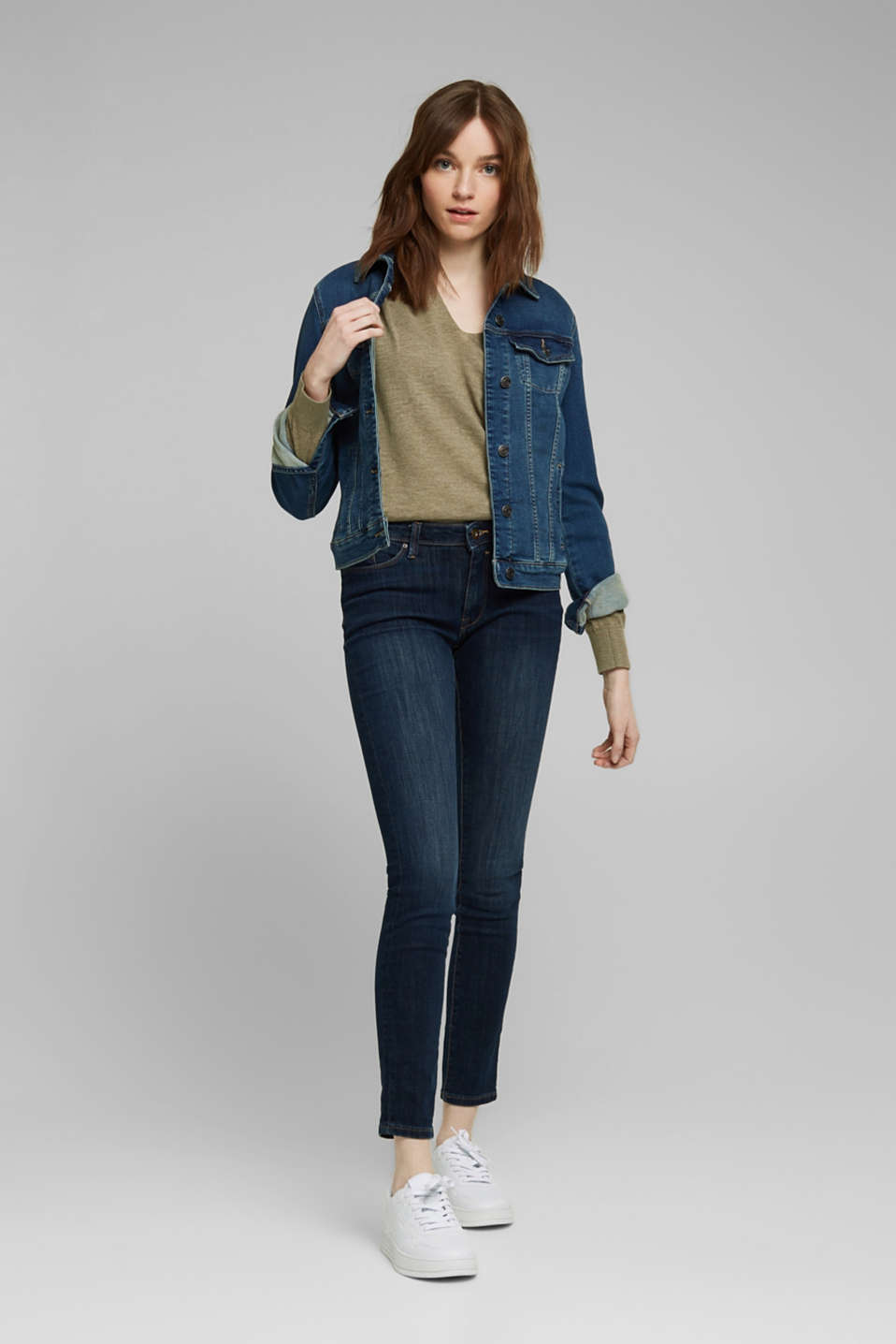 Jeans with organic cotton, BLUE DARK WASH, detail image number 1