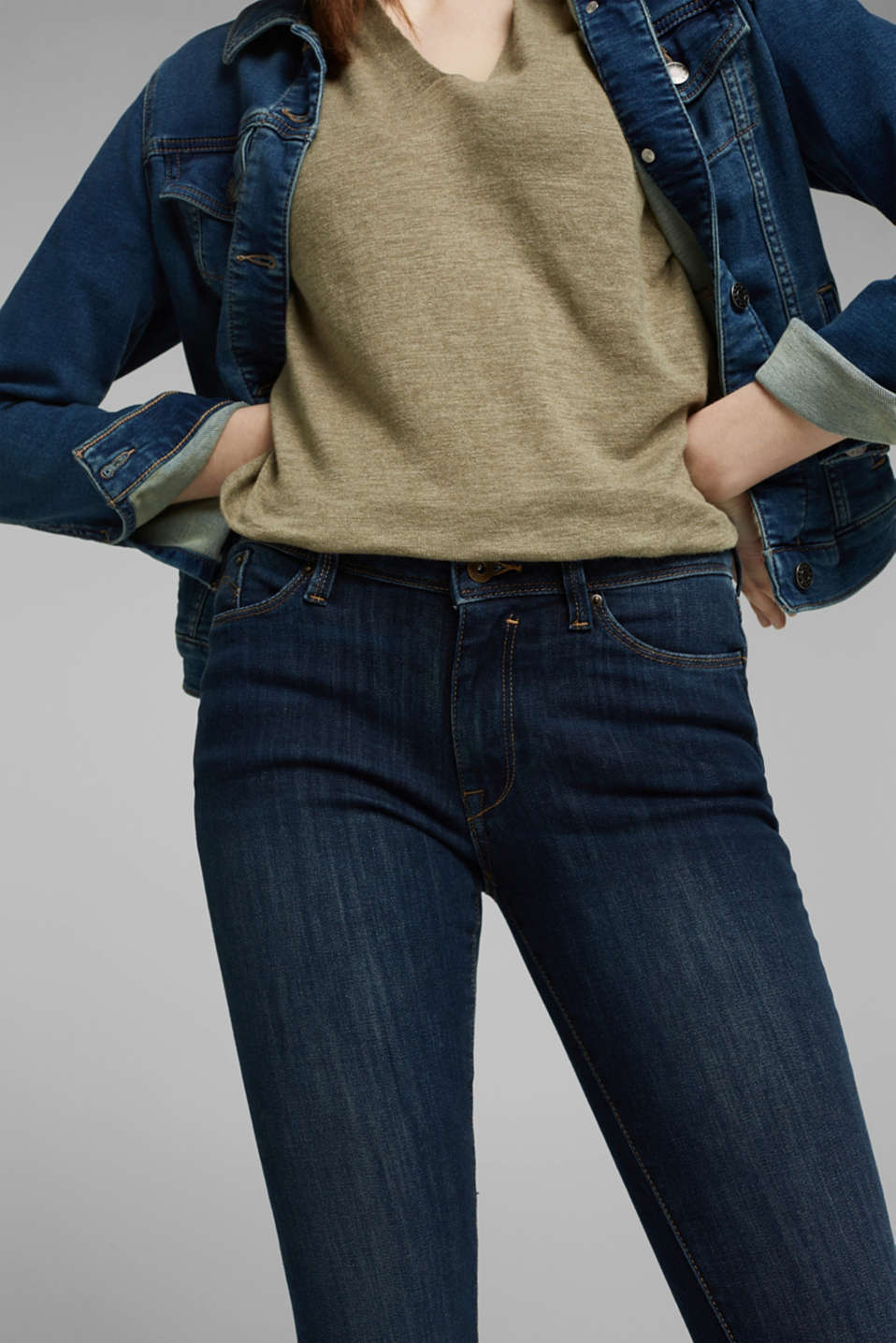 Jeans with organic cotton, BLUE DARK WASH, detail image number 2