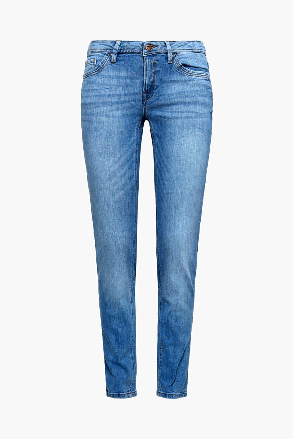 Deze casual washed jeans met hoogwaardig biokatoen en comfortabele stretch is de perfecte essential.