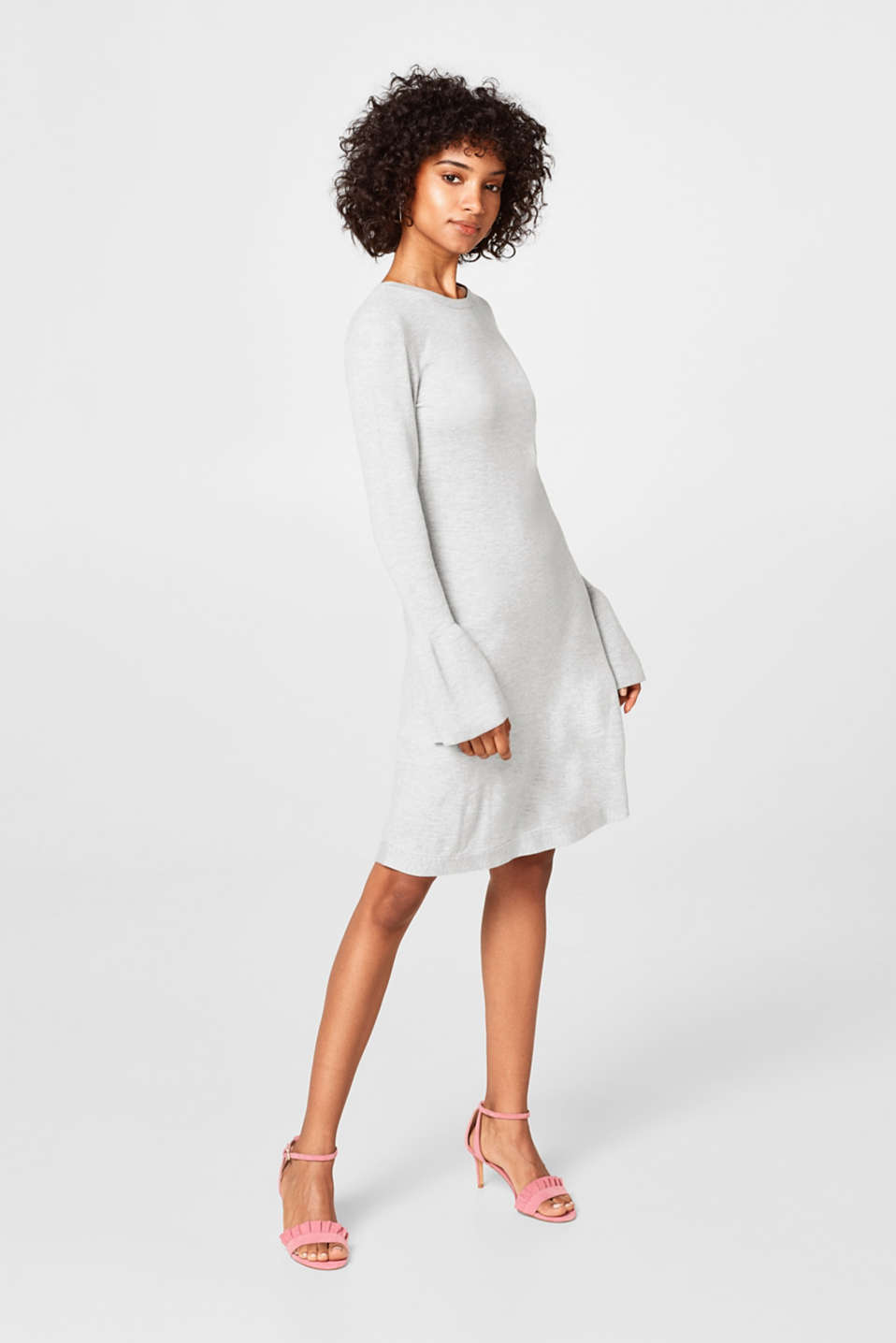 Knitted dress and flounce sleeves