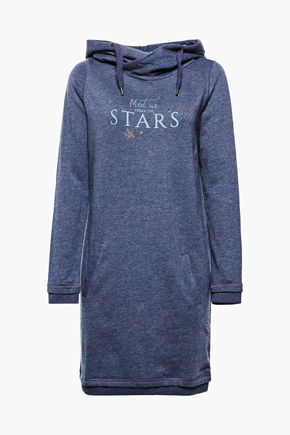 Comfy style for relaxed looks: sweatshirt dress with a stud slogan print and a wrap-over hood.