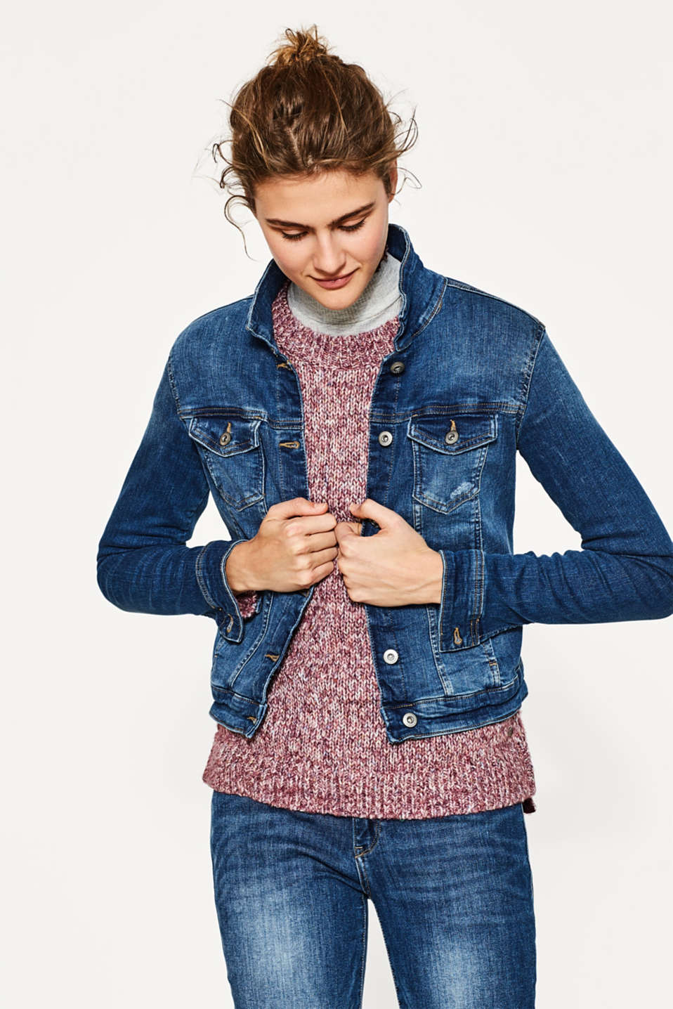 edc - Distressed stretch denim jacket