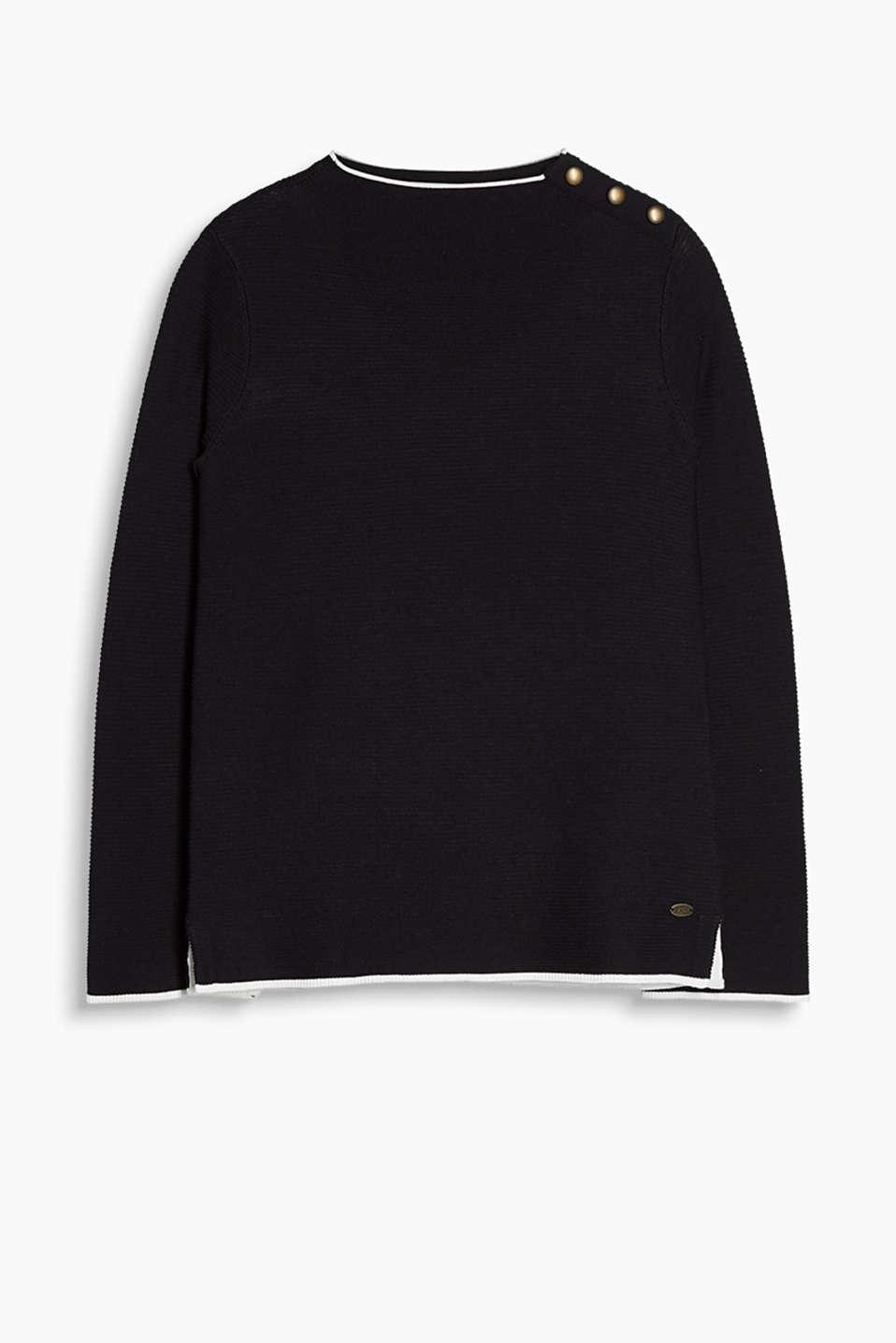 edc Pullover mit Schulterknöpfen im Online Shop kaufen