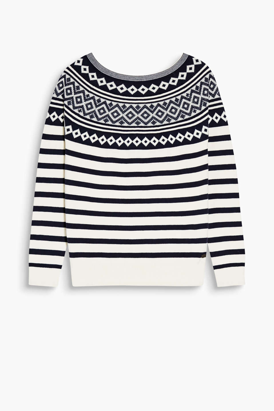 With different on-trend patterns: cotton jumper with Norwegian intarsia and classic stripes.
