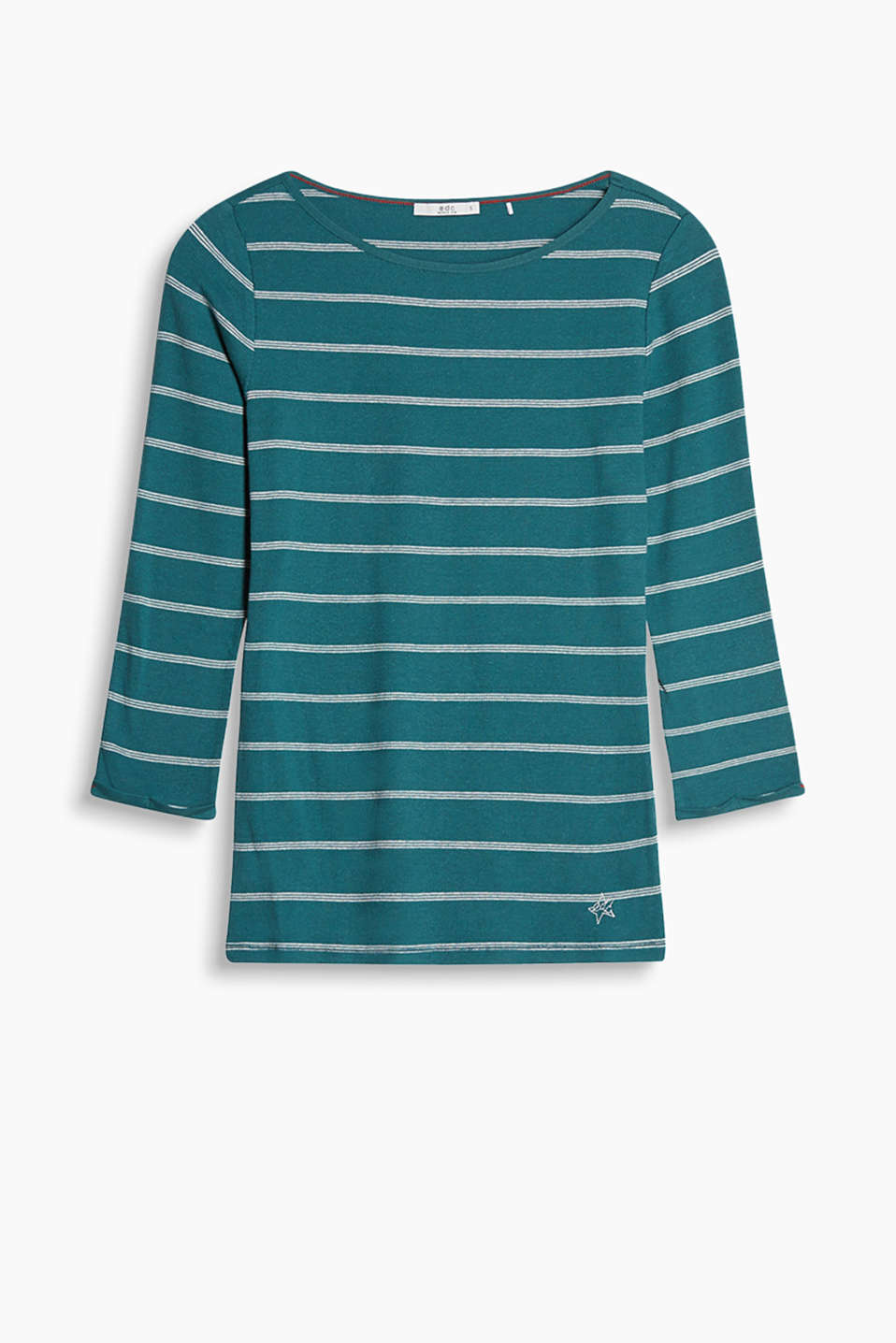 So soft and versatile: striped long sleeve top in ribbed jersey with stretch