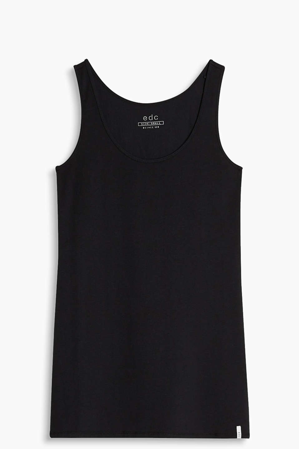 Simple tank top in slinky cotton jersey with added stretch for comfort