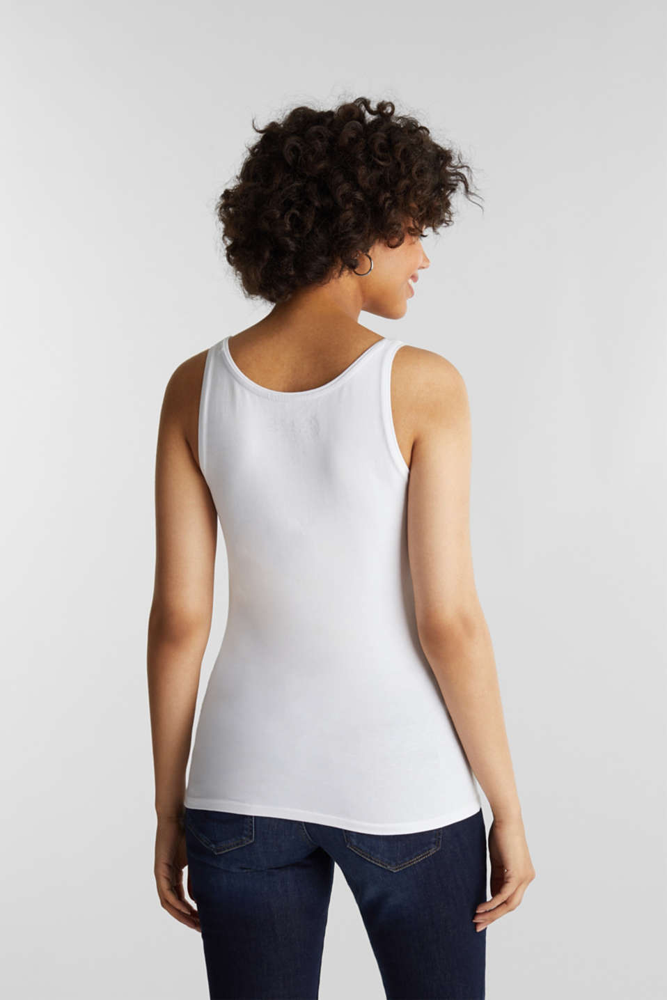 Stretch cotton vest, WHITE, detail image number 3