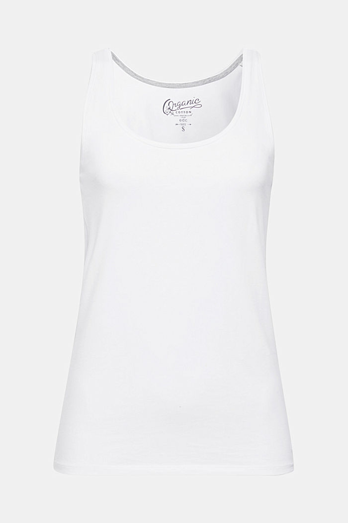 Stretch cotton vest, WHITE, detail image number 5