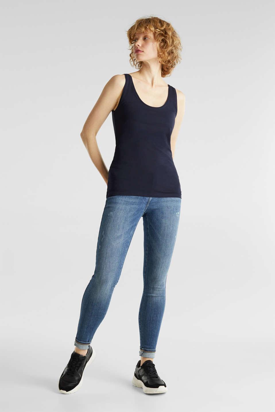 Stretch cotton vest, NAVY, detail image number 1